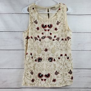Lucky Brand Embroider Beaded Blouse